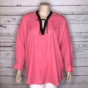 Denim 24/7 NWOT 18W Pink Criss-Cross Sleeve Blouse